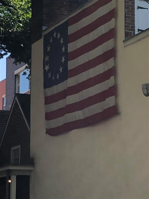 Flag hanging at The Besty Ross House in Philadelphia.